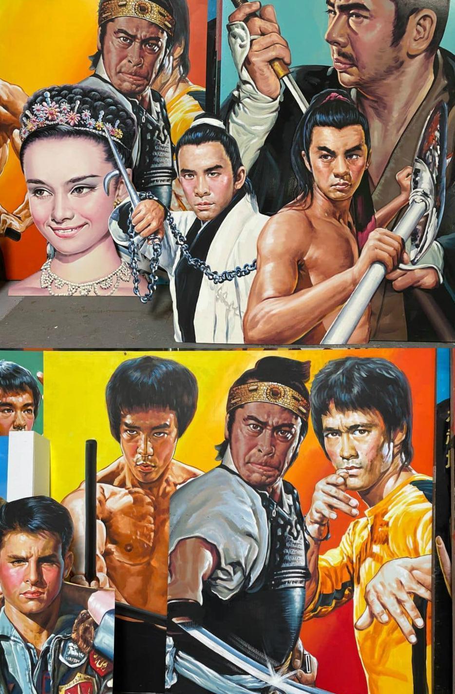 在1960、70年代的電影黃金時期,許多戲院會高掛大型看板海報吸引民眾入場,在那個還沒有電腦書輸出的年代,全由畫師手繪而成。(翻攝自Mr. 布雷蕭臉書)