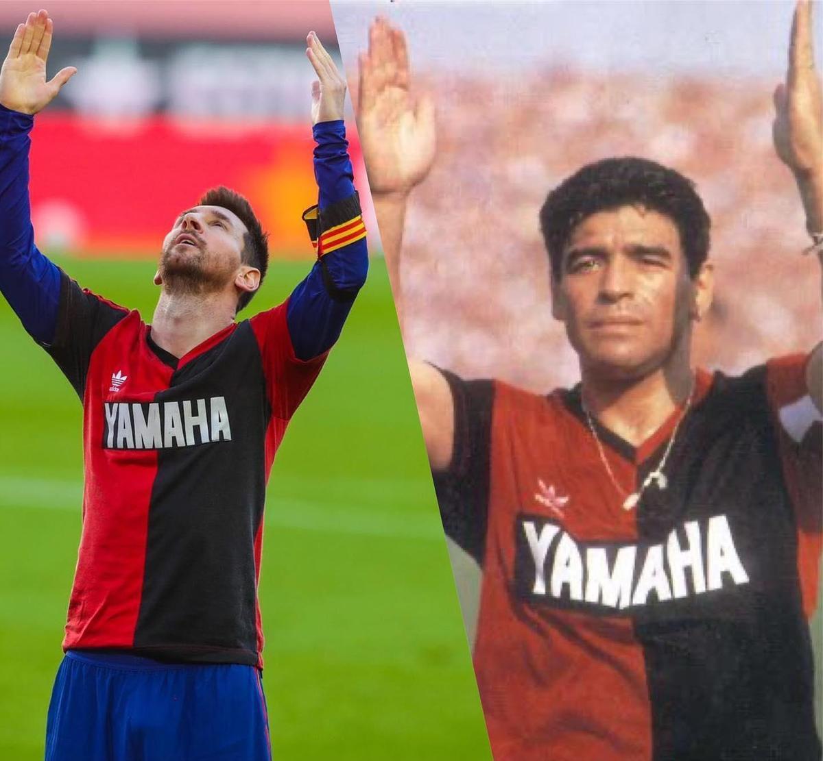 梅西(左)致敬馬拉度納(右)的行為因違反足球規則遭罰。(翻攝自梅西臉書)