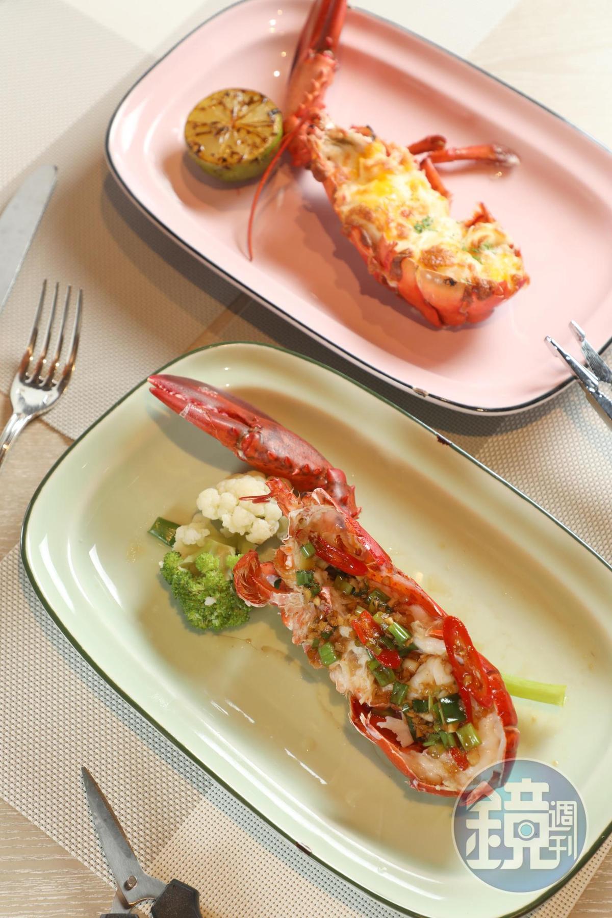 龍蝦可選擇西式的起士焗烤、炭烤佐澄清奶油或中式辣醬爆炒等3種口味。