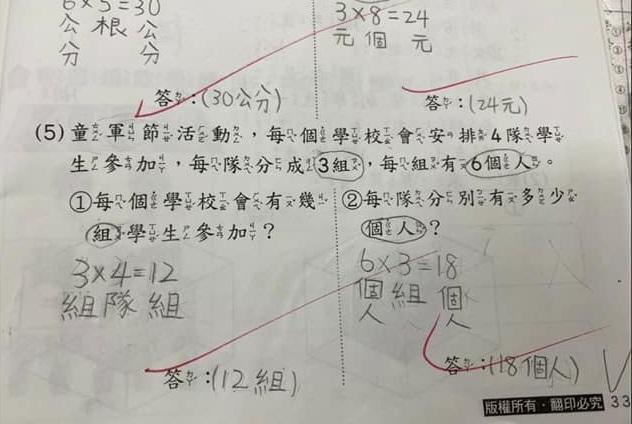 家長抱怨非得寫「6X3」答案才是完全正確,「數學靈活運用、答案正確、單位正確就好,何必死死板板」。(翻攝自爆怨公社)