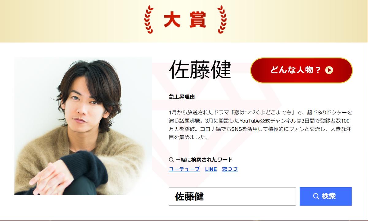 佐藤健不負眾望拿下Yahoo!搜尋大獎的年度寶座。(翻攝自Yahoo!)