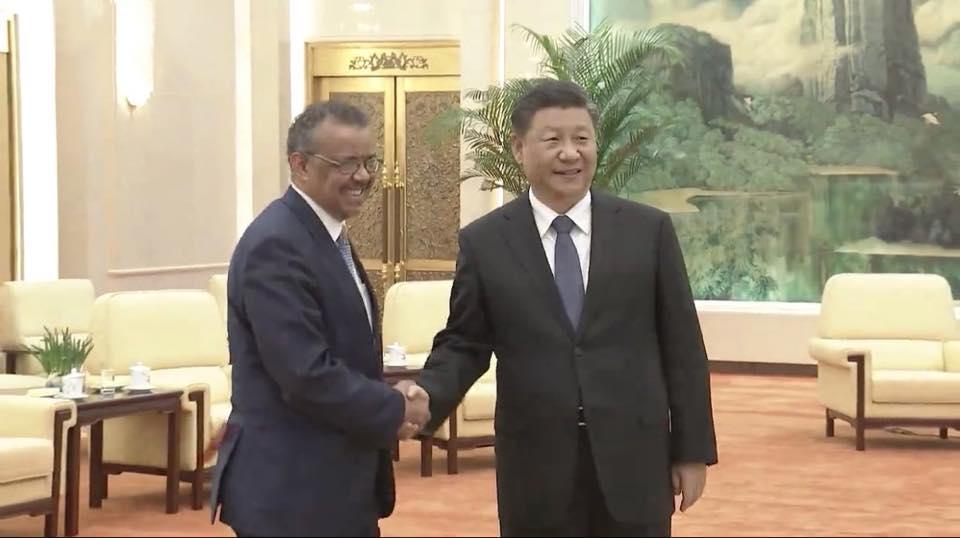 譚德塞於今年1月27親自赴中國,與國家主席習近平會面。(翻攝自譚德塞臉書)