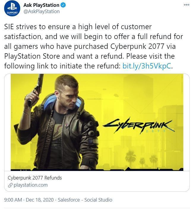 《電馭叛客 2077》被抱怨bug太多影響遊戲體驗,索尼PS宣布開放全額退款。(翻攝自Ask PlayStation 推特)