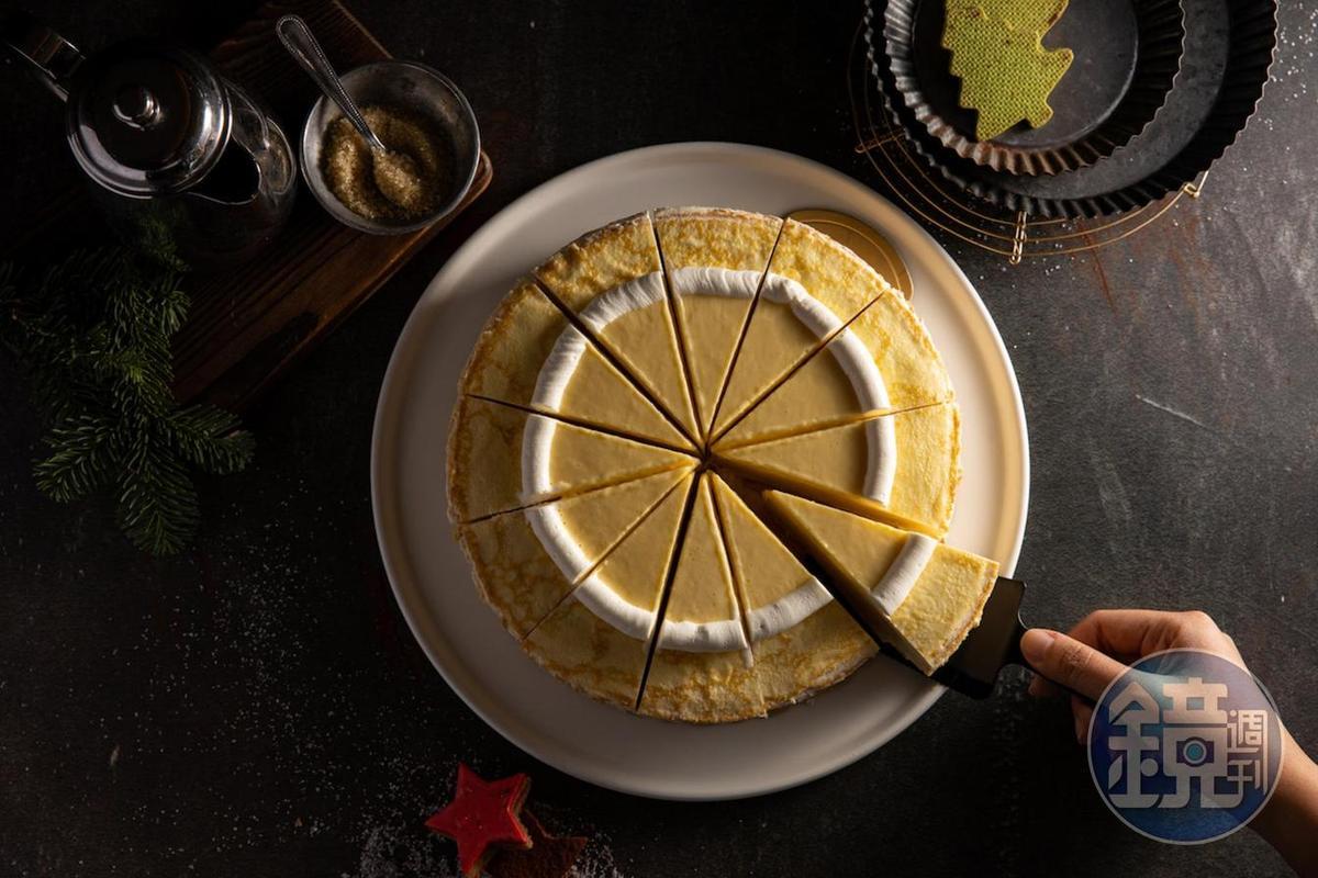 「柚子千層蛋糕」做得細緻,柚子酸香解膩。(220元/片)