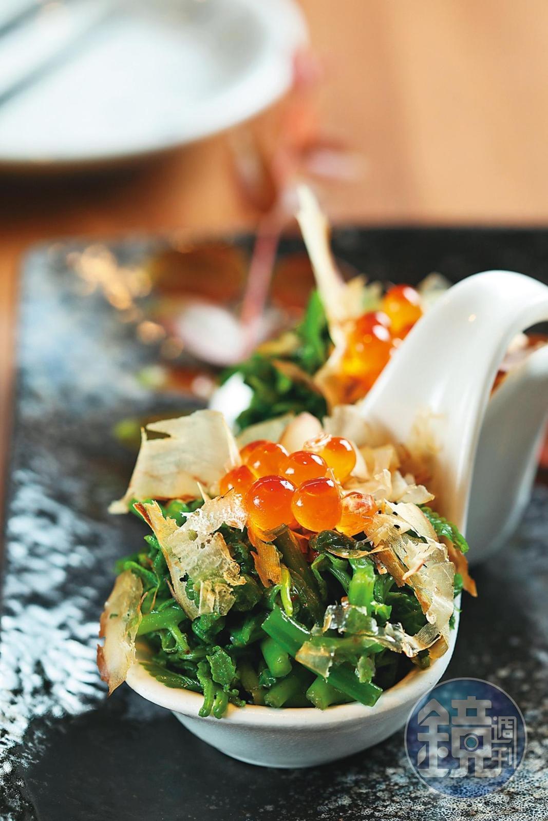 「鮮卵野蕨」是點合菜才吃得到的創意菜色。(5,000元以上合菜菜色)