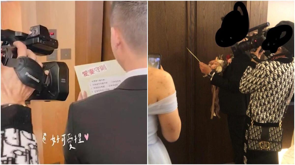 婚攝被指控,將錄影機直接貼在新郎臉旁,讓人摸不清他到底想拍攝什麼。(翻攝自爆料公社)