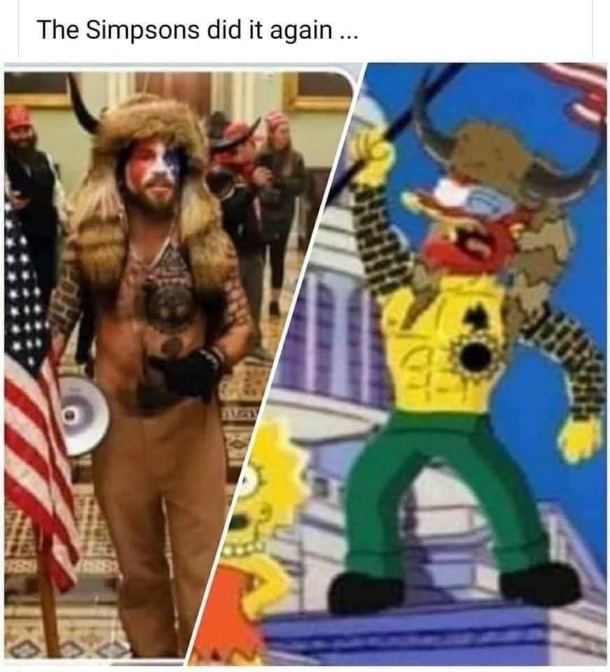 卡通《辛普森家庭》疑似又成功預言美國國會暴動。(翻攝自Reddit)