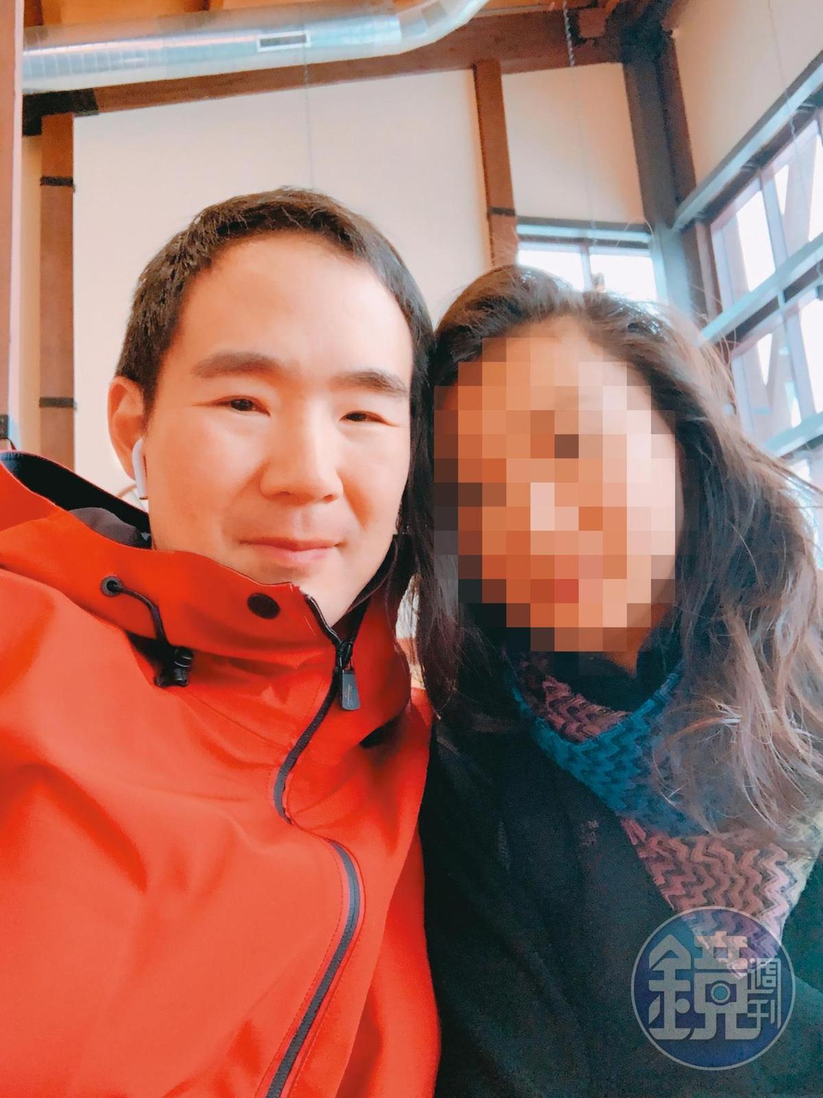 在美國擔任醫事人員的M小姐(右)指控,陳翰洋(左)偽裝單身與她交往。(讀者提供)