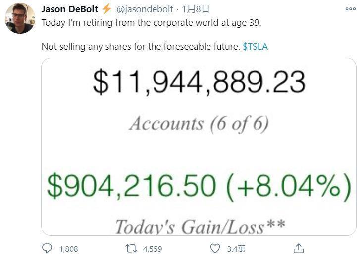 工程師狄伯在特推特上宣布即將退休,還附上自己已累積近1,200萬美元(約新台幣3.3億元)證券戶截圖,引發網友熱議。(翻攝自@jasondebolt推特)