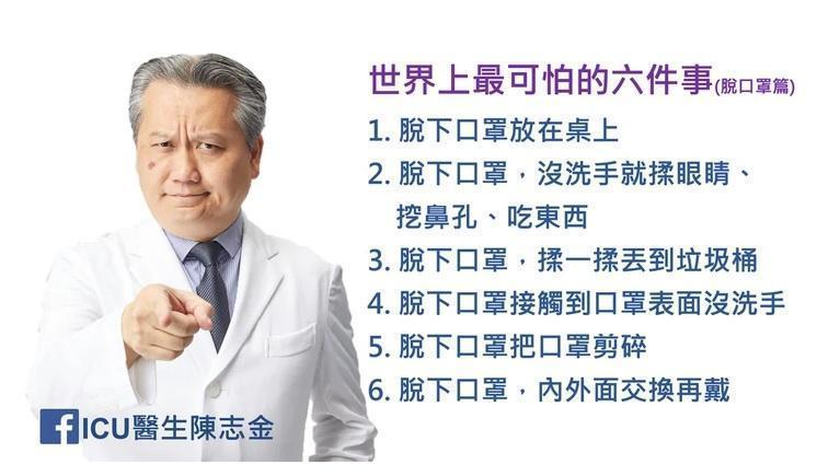 奇美醫院醫師陳志金在臉書發文,提醒民眾別使用錯誤的方式脫口罩。(翻攝自ICU醫生陳金志臉書)