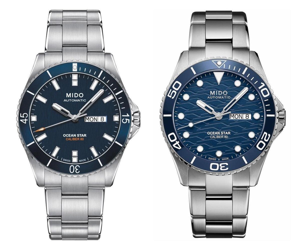 MIDO美度Ocean Star「海洋之星」潛水錶的新舊款比較。左邊為2016年採用鋁合金錶圈的舊版,右為2021年發表的新版200C陶瓷圈潛水錶。