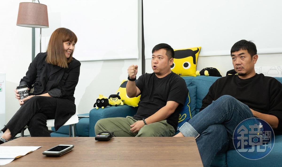 《全明星運動會》由湯宗霖(右起)、楊致遠企劃執行,王貞妮負責行銷業務,3人各司其職。