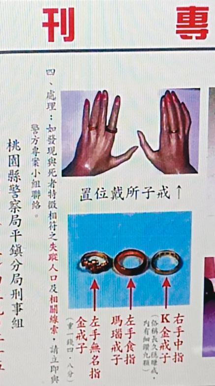 案發後,警方公布焦屍手上的戒指材質,希望家屬出面指認。(翻攝畫面)
