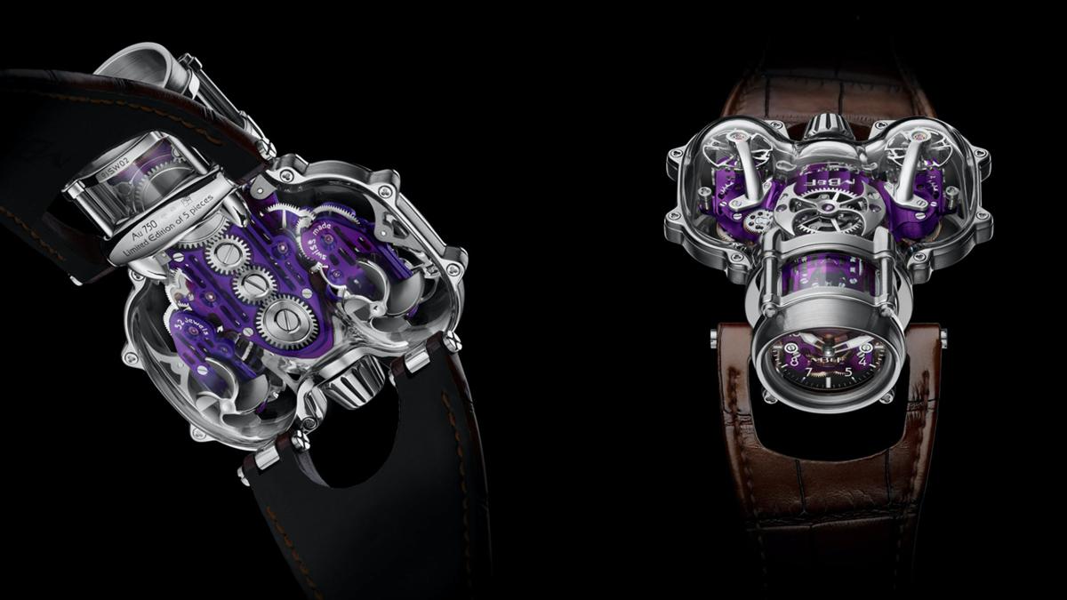 HM9-SV其中一款新作以白金錶殼配上PVD鍍膜紫色機芯,在大範圍的通透視覺效果下,紫色顯得更加搶眼。