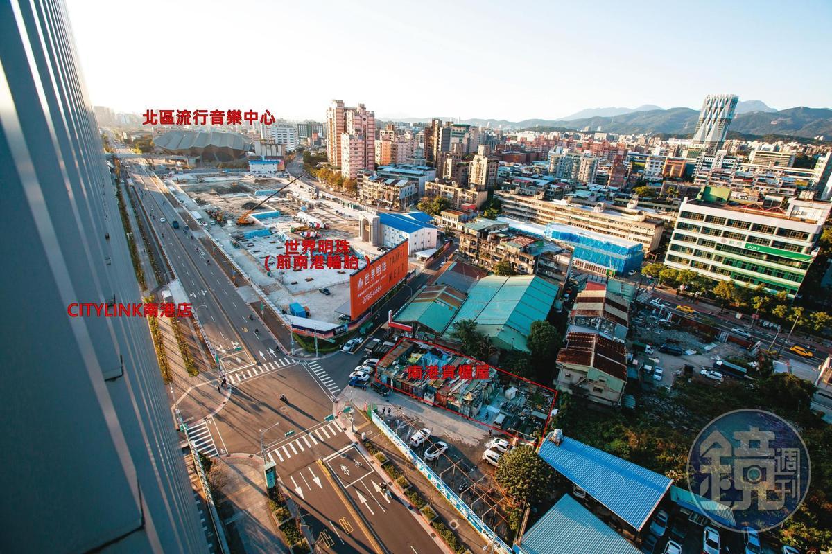 南港貨櫃屋所在位置菁華,四周全是新開發的南港地標。