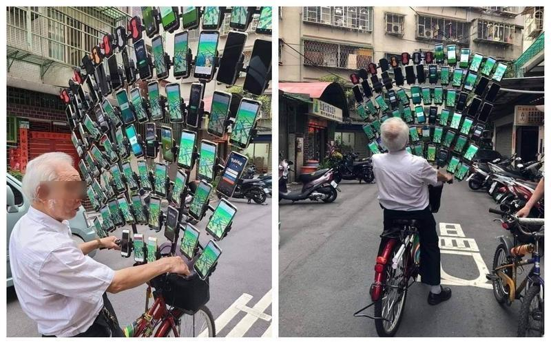 擁有64支手機的「寶可夢阿伯」陳三元,被網友認為是這次國家級警報的最大受害者。(翻攝自臉書社團「爆廢公社公開版」)