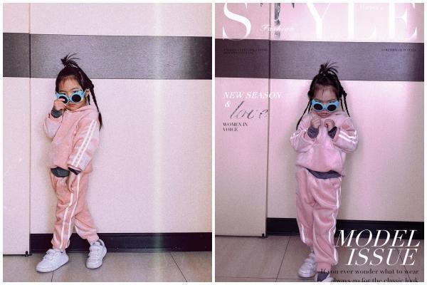 戴上墨鏡穿著粉紅色運動服的咪咪獎,隨時可登上時尚雜誌。(翻攝自雙胞胎佩佩臉書)