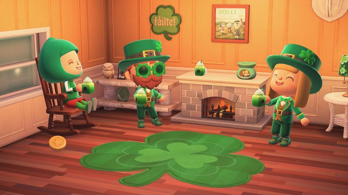 3月17日是愛爾蘭的聖派翠克節,動森也將出現應景的三葉草系列家具。(翻攝自任天堂官網)
