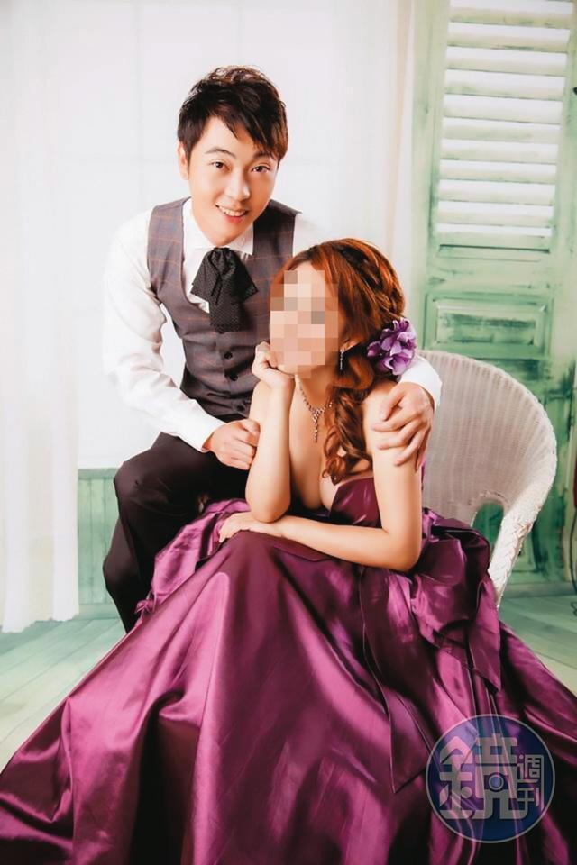 小雯(右)與電影製片蔡榕哲(左)2014年結婚時,已經懷有身孕。(讀者提供)