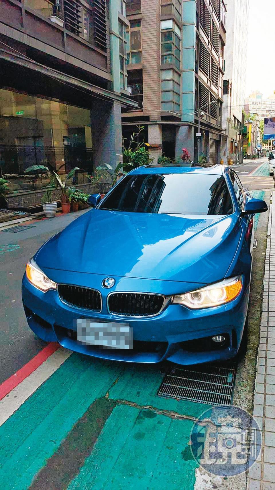 李男不僅全身名牌,出入還開BMW轎車。(讀者提供)