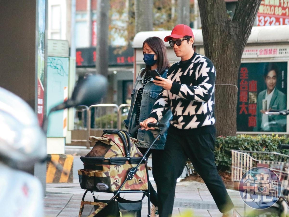 陳喬恩與男友互動如新婚夫妻,推著寵物推車帶毛小孩看醫生。(2/18,16:53)