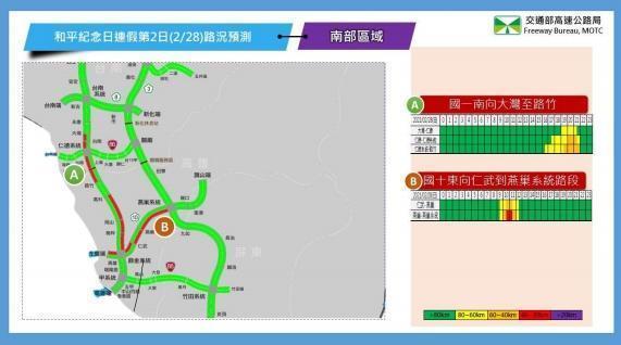 2月28日南部路段南向路況預報圖。(翻攝自高公局官網)