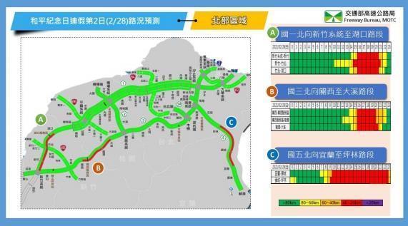 2月28日北部路段北向路況預報圖。(翻攝自高公局官網)