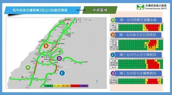 2月28日中部路段北向路況預報圖。(翻攝自高公局官網)