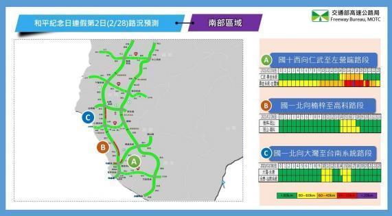 2月28日南部路段北向路況預報圖。(翻攝自高公局官網)
