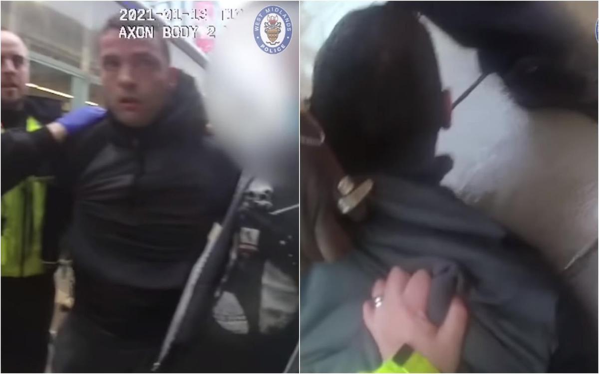巴特勒襲警試圖逃跑,立刻遭警方制伏。(翻攝自West Midlands Police YouTube)