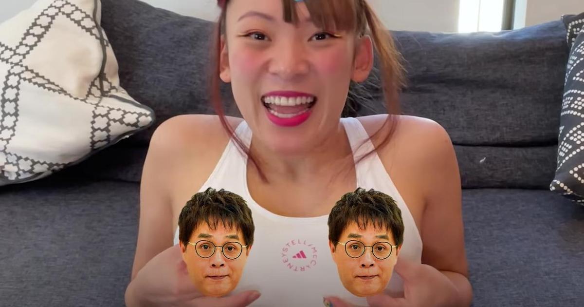 福娃醬為避免再度發生走光慘事,自己提議用該晨間節目主持人的臉做成胸貼。(翻攝自FUWACHAN TV YouTube)
