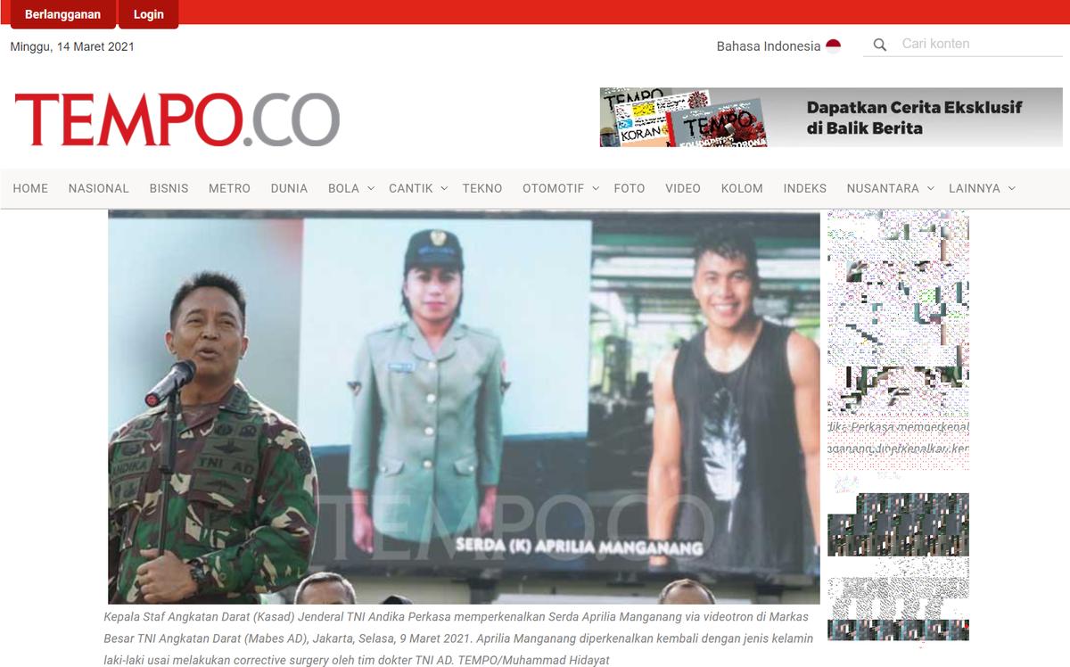 印尼軍方高度重視曼加南格一案,由陸軍參謀長坐鎮記者會。(翻攝自印尼調查媒體《Tempo》)