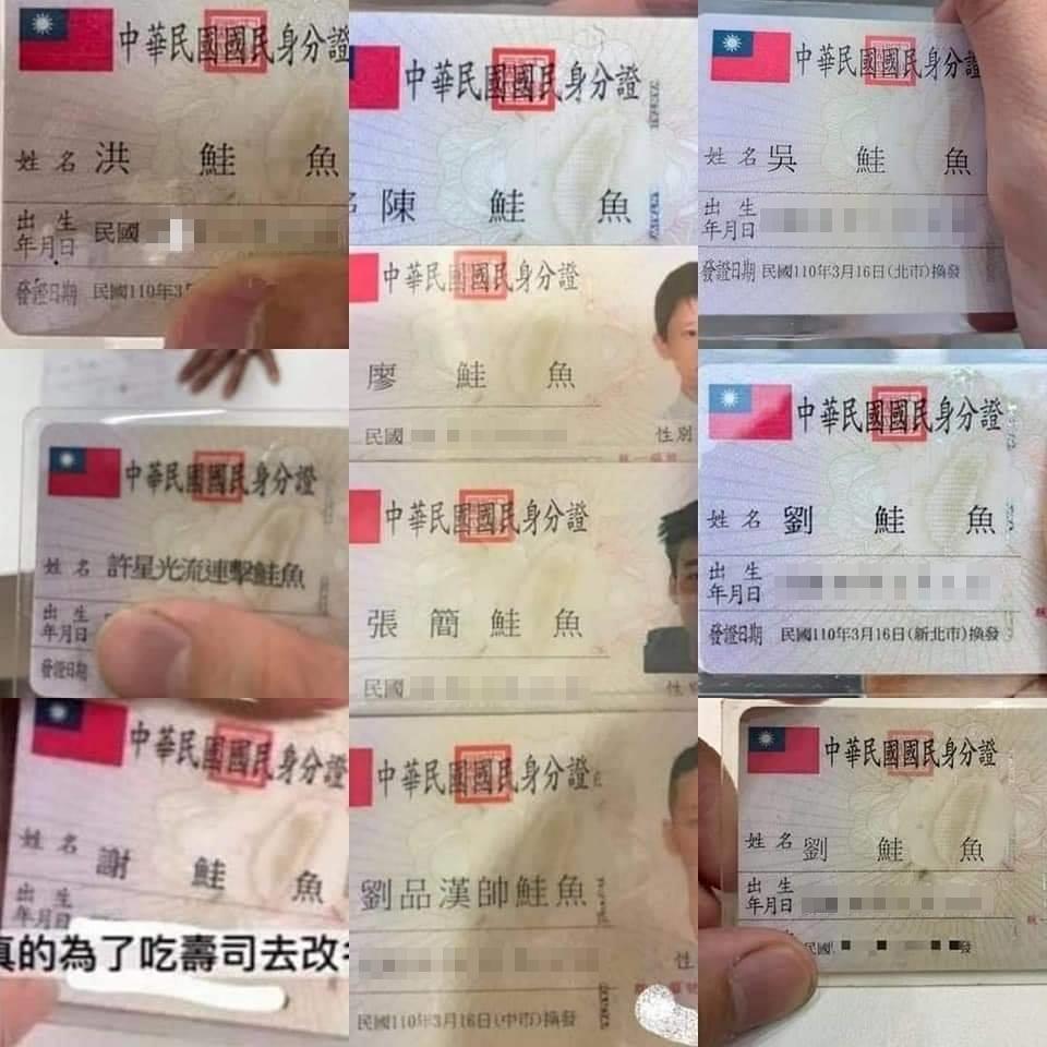 網路上有不少網友曬出改名「鮭魚」後的身分證照片。(翻攝網路)