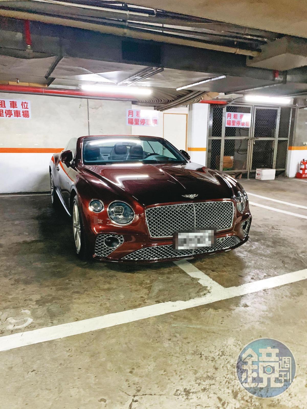 廖德修過世後不到2年,他的特助蕭琦晃即買了賓利Continental GT V8敞篷式等8輛名車,市值逾5千萬元,引發廖家質疑。(讀者提供)