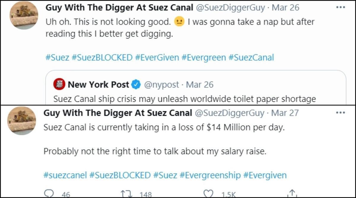 1.「〈蘇伊士運河危機恐讓衛生紙原料短缺〉,喔喔,這看起來不太妙。本來想去睡午覺的結果看到這個,我還是繼續挖好了。」 2.「蘇伊士運河每天為此損失1,400萬美金。現在好像不是很適合談加薪齁。」(翻攝自推特@SuezDiggerGuy)
