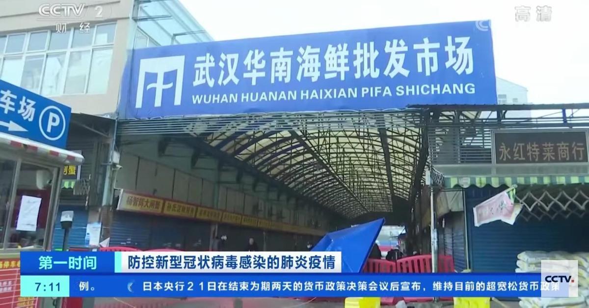WHO報告稱,華南海鮮市場應非疫情源頭。(翻攝自中國央視)