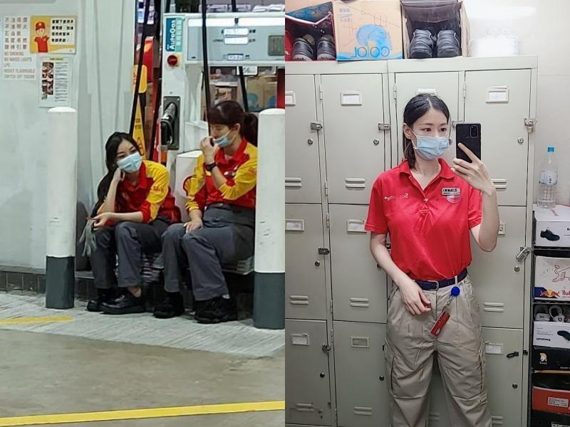 香港網友先討論左圖殼牌加油站的正妹工讀生,隨後又有右圖ESSO加油站正妹員工參戰。(翻攝自今日有嘢講Today Review67臉書)