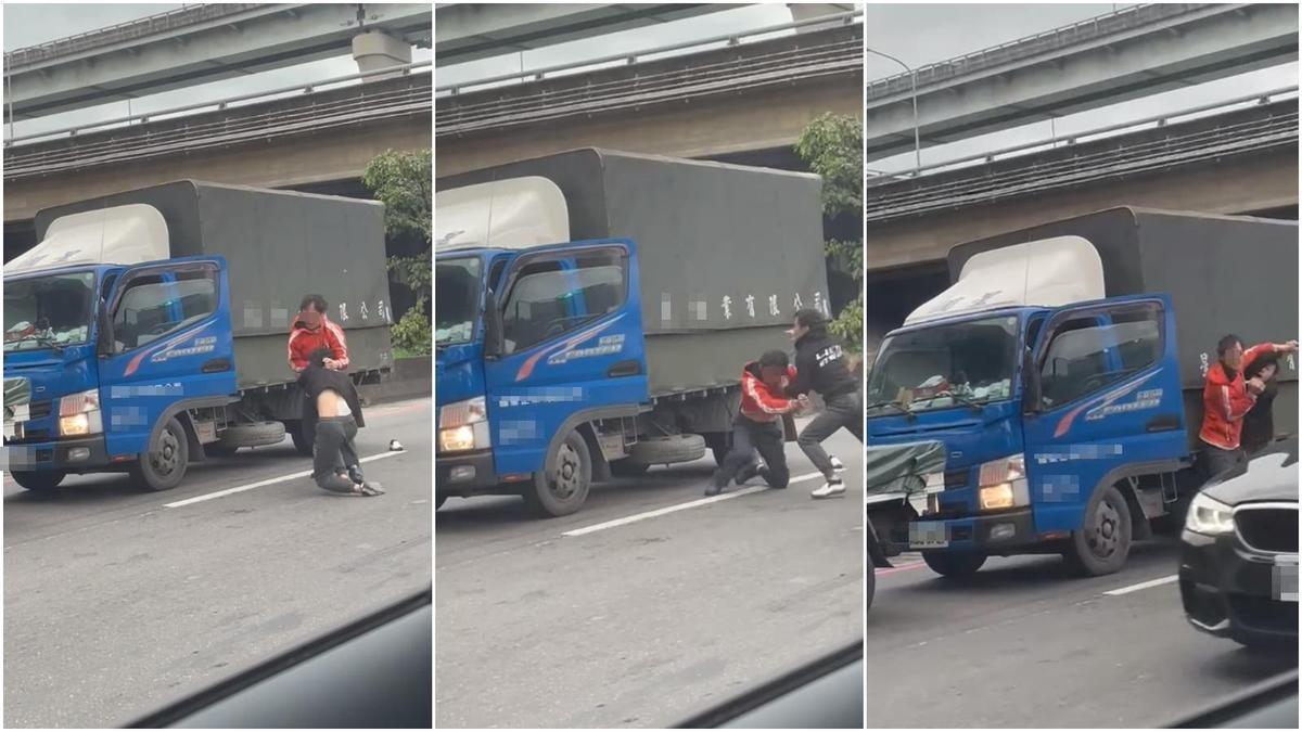 2名貨車司機竟因為行車糾紛打在交流道大打出手。(翻攝自爆料公社臉書)