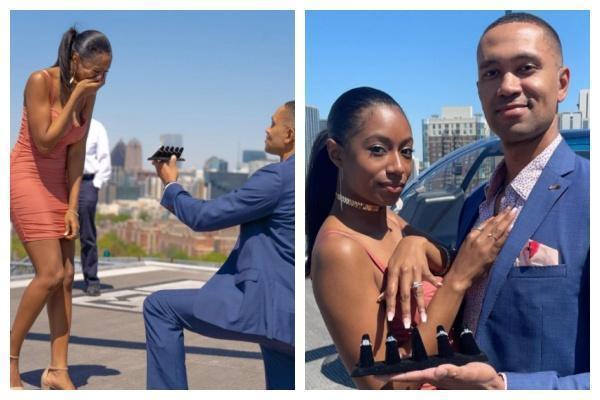 威廉精心準備的求婚儀式讓布蘭妮非常感動,點頭答應求婚。(翻攝自mz_miller IG)