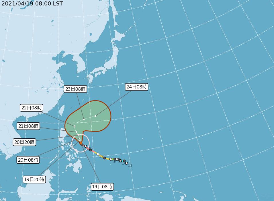 強颱「舒力基」預計週三(21日)下半天到週四(22日)離台灣最近。(翻攝自中央氣象局)
