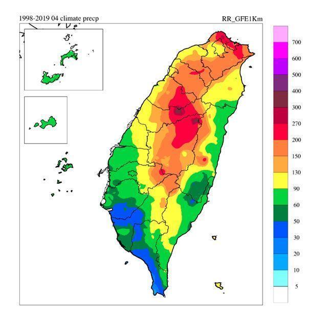 鄭明典曝光4月氣候值,「這是我們要關心午後對流的原因,中部山區的水源,在4月份很重要的來源是午後增強的對流系統!」(翻攝自鄭明典臉書)