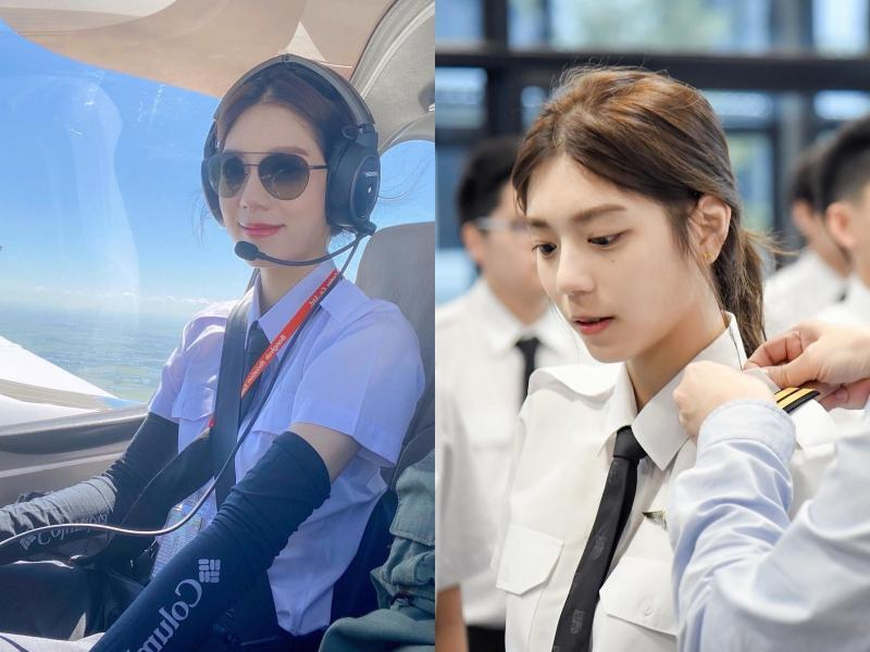 Meimei從去年開始接受飛行員培訓,如今也能獨當一面駕駛小飛機。(翻攝自thanyawee_ IG)
