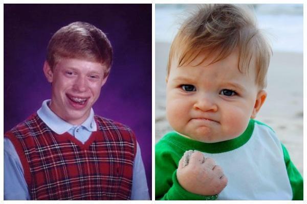 佐伊諮詢「超衰布萊恩」(左)的主角凱爾和「握拳寶寶」(右)的母親後,決定將原始照片放到網路上拍賣。(翻攝自Bad Luck Brian、Sam Griner, Success Kid臉書)