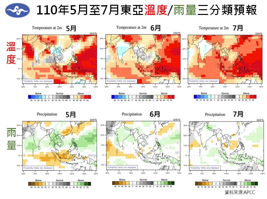 中央氣象局預測,出現大範圍持續性降雨的時間點可能落在5月下旬之後。(翻攝自報氣候 - 中央氣象局臉書)