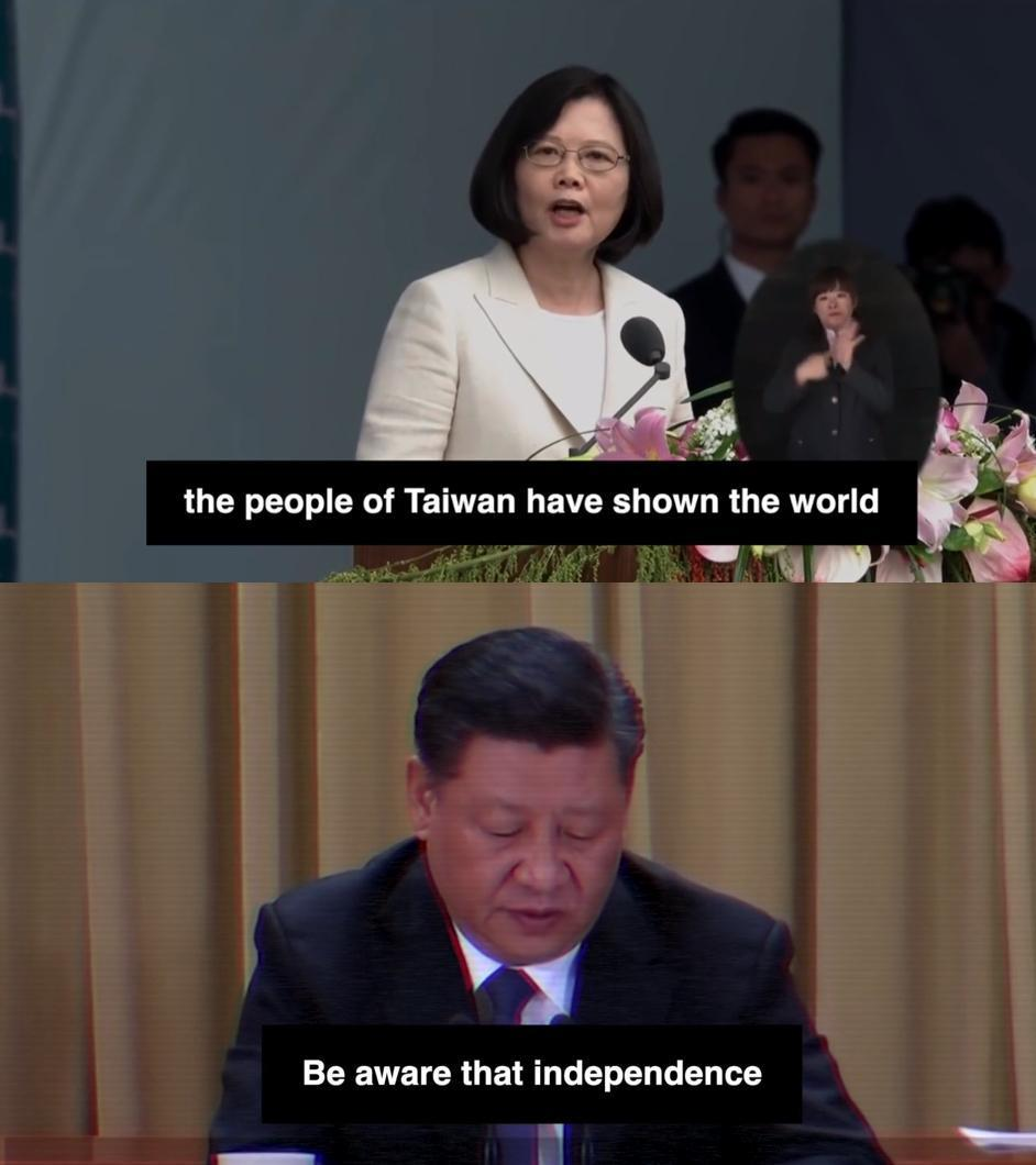 HFX製作獲獎影片,剪輯了習近平稱「台獨只會給台灣帶來深重禍害」與蔡英文稱「我們不會貿然升高對抗也不會屈從」的片段,肯定台灣無懼中國的脅迫。(翻攝自Halifax The Forum twitter)