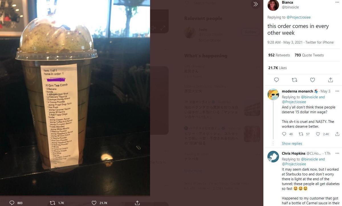 網友Bianca貼出她收到超過30項客製化要求的抹茶星冰樂吐苦水。(翻攝@ProjectJosiee推特)