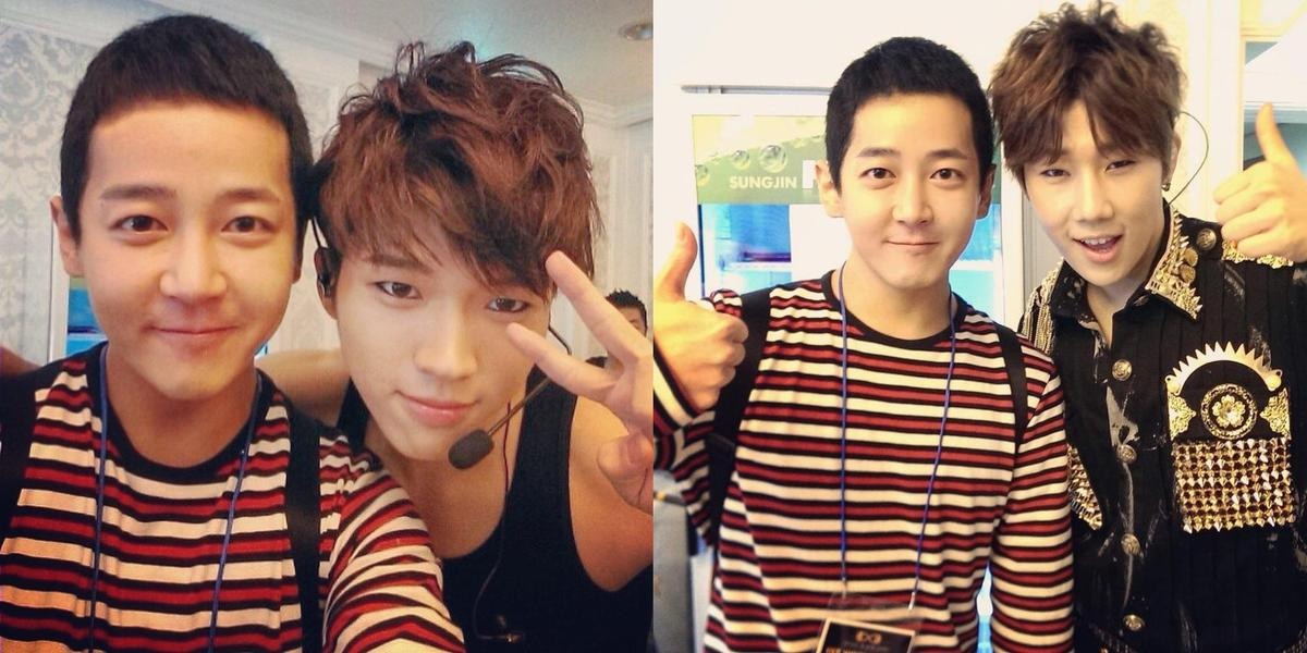 J.Yoon曾為INFINITE多首作品作曲製作,圖為他與聖圭、優鉉在2013年留下的合照。(翻攝自J.Yoon IG)