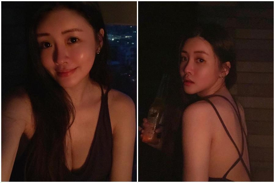 賴琳恩穿著低胸又大露美背的性感居家服。(翻攝自賴琳恩 Lene Lai臉書)