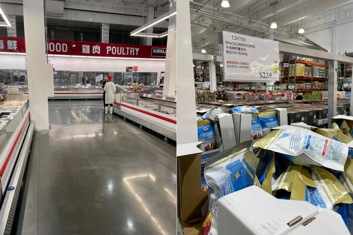 原PO記錄下好市多新莊店顧客稀少、貨物滿架的模樣。(翻攝自臉書社團「Costco好市多 商品經驗老實說」)