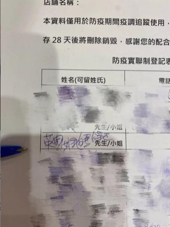 店員檢查店內的實聯制表單,卻發現有客人電話留白,還留下「奇怪名字」。(翻攝自Dcard)